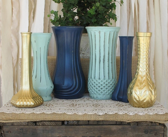 Vaseshand painted flower vases upcycled rustic