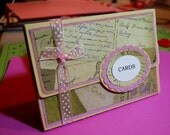 4 Handmade Cards - Boxed with a Bow - Cream and Light Purple Box and Cards with Matching Color Envelopes. Great Gift