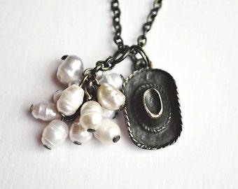 Cowboy Hat Pendant Necklace // Freshwater Pearls Pendant // Bronze Necklace