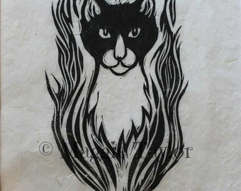 Simon, cat, original hand-pulled linocut relief print on Japanese Kinwashi paper