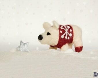 Robbie - Needle felted polar bear, winter novelty, seasonal felted decoration, white and red, stocking stuffer, gift under 20