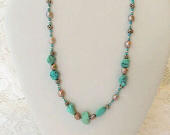 Turquoise Necklace, Southwestern Jewelry, Natural Turquoise Stone Necklace, Boroque Pearl Necklace, Turquoise Stone Jewelry. A48