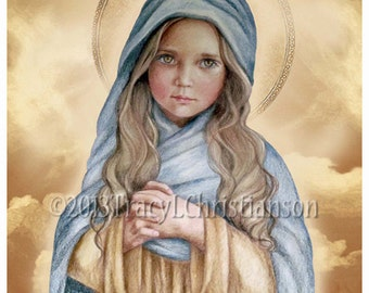 The Holy Child Mary Catholic Art Print Blessed Virgin Mary, Our Lady #4175