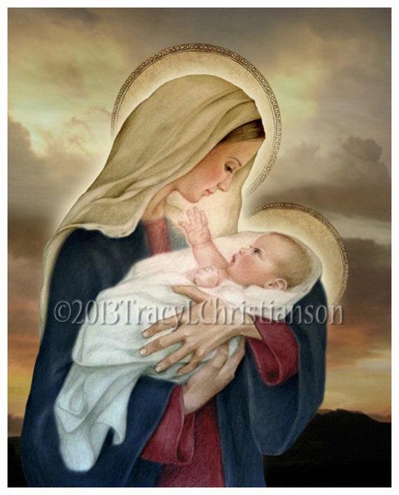 And child f catholic art print blessed virgin mary baby jesus 4027