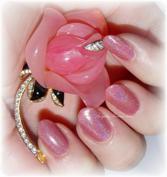Holographic Nail Polish Rose Pink Nail Lacquer Custom Nail