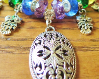 CLEARANCE - Antique Silver Style Pendant with Owl Charms and Rainbow Beads on Snake Chain