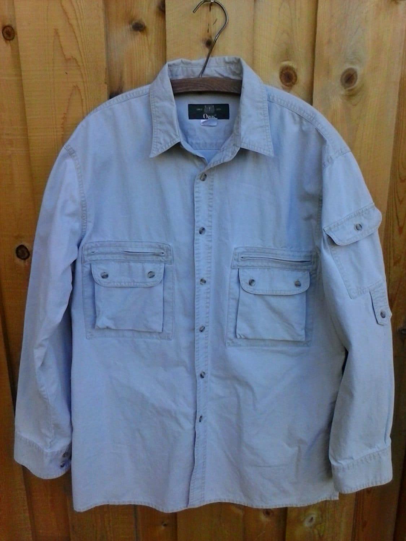 vintage safari shirt orvis bush large l jacket