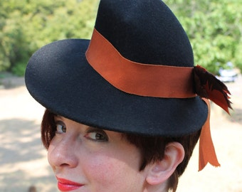 SALE / In-Stock: Vintage 1930s 1940s-Style Black Felt Fedora with Vintage Ribbon & Faux Bird in Back