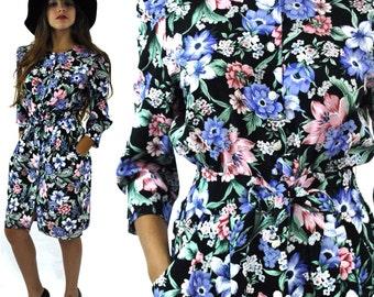 Vintage 80s Petite Jazz California New Wave Secretary Button Front Floral Dress