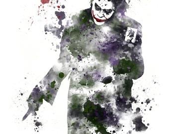 The Joker, Batman ART PRINT illustration, Supervillain, Home Decor, Wall Art. The Dark Knight
