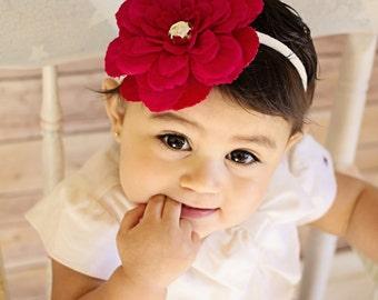 Red Flower Headband - Red Dahlia Headband, Red and Ivory Headband - Infant Headband, Baby Headband, Newborn Photo Prop, Flower Girl