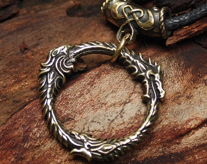 Bronze Ouroboros Gamer 3D Pendant Necklace