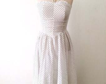 80s Smocked Polka Dot Halter Dress