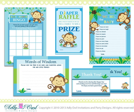 blue boy monkey baby shower essentials printable party kit with blue