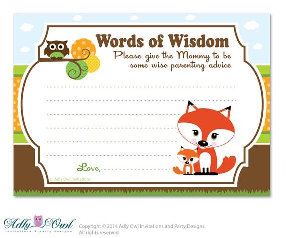 brown orange boy fox owl words of wisdom advice card for baby shower