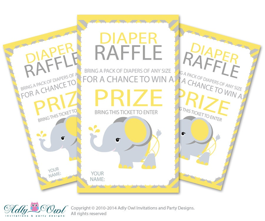 Elephant Diaper Raffle Tickets Printable for Baby Boy or Girl