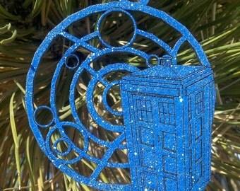Tardis with Gallifreyan Christmas Ornament