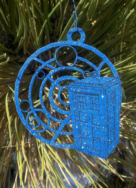 Tardis with Gallifreyan Christmas Ornament