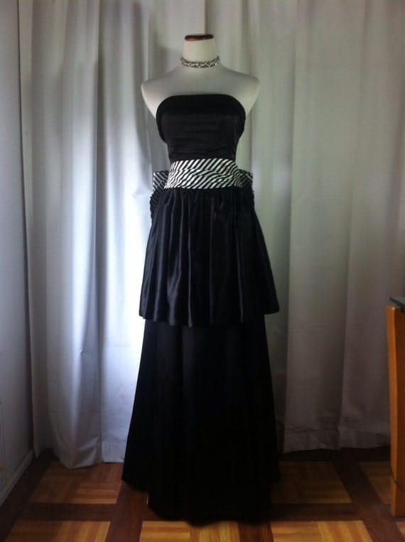 Vintage Gunne Sax Jessica McClintock Victorian Steampunk Style Strapless Black Satin White Striped Bow Gown, Bust 34 by WNPCbyRachel steampunk buy now online