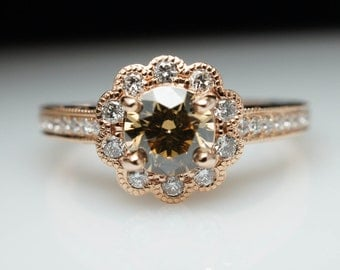 1.0ctw Champagne Brown Diamond 14k Rose Gold Flower Halo Diamond Engagement Ring - Free Sizing -Layaway Available