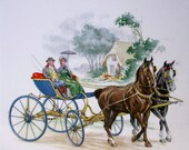 Vintage Ceramic Tile Depicting Horse Drawn Carriage - Made In England by H & H Johnson Ltd. -  6 Inch Square