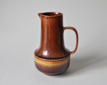 Vintage East German pottery vase handle 60s 70s jar Colditz GDR design jug Mid Century Modern gold caramel brown