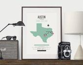 Zombie Safe Zone Austin Map Poster - Austin City Map