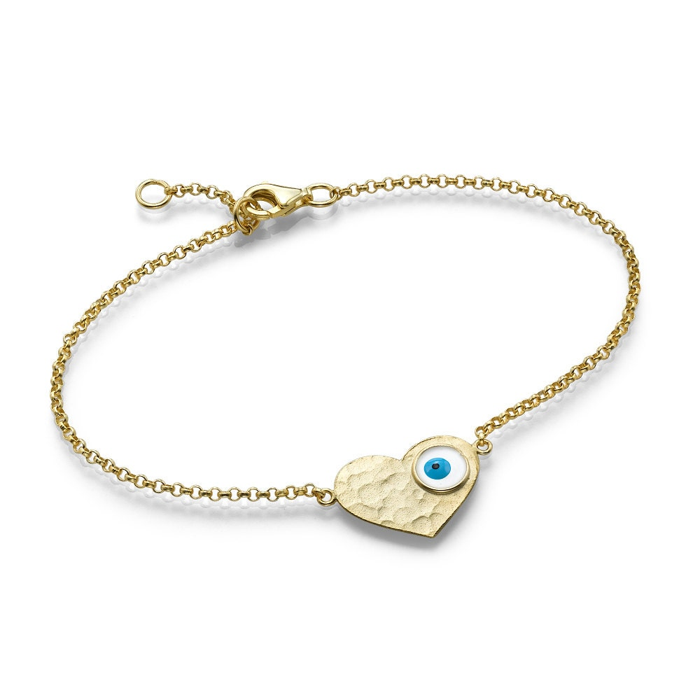 Gold-Plated Evil Eye in Heart Pendant Bracelet, Hand-Made Jewelry