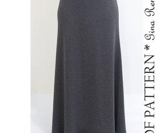 Maxi Skirt Pattern. Womens Maxi Skirt Sewing Pattern.