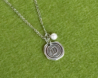 Personalised Wax Seal Initial Stainless Steel Necklace N117