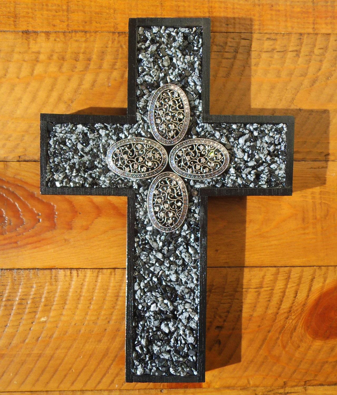 Wood Cross Snowflake Obsidian Wall Cross Home Decor