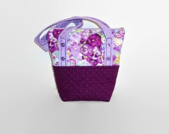 Small Quilted Purse, Purple Lavender Floral Pansy Handbag, Repurposed Fabric Bag, Womens Bag, Girls Purse, Spring Bag, Upcycled Recycled