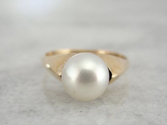 simple vintage yellow gold pearl ring nx6czn n