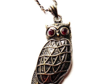 Antiqued Brass Owl Pendant Necklace