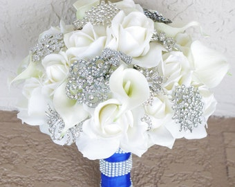 AMAZING Brooch Wedding Bouquet - Natural Touch Roses and Flower Brooch Jewel XL Bride Bouquet - Rhinestones