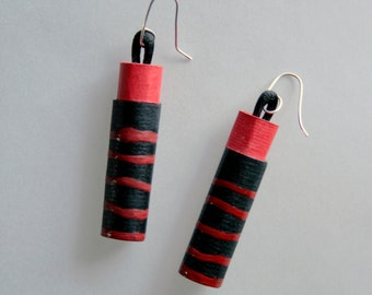 Red and black cardstock earrings decorated with red stripes