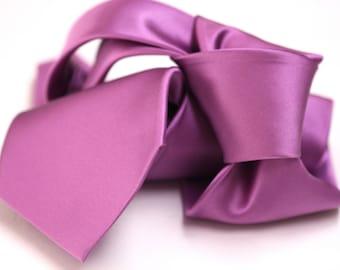 Satin Silk Tie (3.75 inch) in Solid Purple