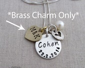 Add On- Personalized Brass Heart Charm, Hand Stamped