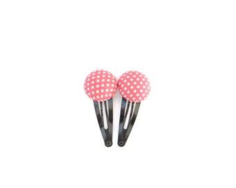 Polka Dot Hair Clip/ Antique Pink Hair Clips/ Button Hair Clips/ Fabric Hair Clips/ Pink Hair Snaps/ Polka Dot Hair Snaps