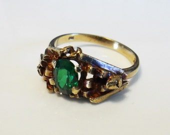 Ladies Retro Green Topaz Vintage Dress Ring in 9ct Rose and Yellow Gold FREE POSTAGE