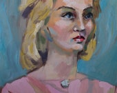 RESERVED for PinkyandPoJewel:  Large, Vintage, Unsigned Portrait, Lady in Pink Shirt, 20x24 Inches, Oil Painting on Canvas Panel