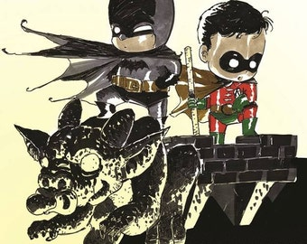 Baby Batman and Robin Art Print by Ferry Ickhwano