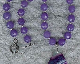 Lovely Lavender - Banded Agate Pendant, Jade, Freshwater Pearls, Sterling Silver Necklace
