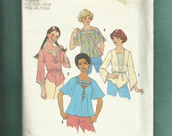 Vintage 1977 Simplicity 7933 Boho Tops with Square Necklines & Angel Wing Sleeves Size Medium Jr