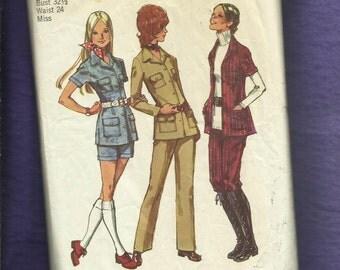 1971 Simplicity 9650 Retro Safari Chic Shirts Shorts & Pants Size 10