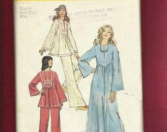 1973  Simplicity 6044 Super Flared Boho Chic Caftan or Tunic with Neckline Slit & Bodice Tucks  Size 10