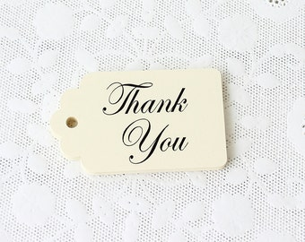 Cream Thank You Tags, Set of 25, Thank You Tags, Ivory Favor Tags, Wedding Favor Tags, Merchandise Tags, Paper Tags, Cream Gift Tags