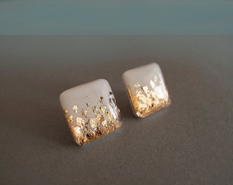 White Gold Square Stud Earrings - Hypoallergenic Surgical Steel Posts