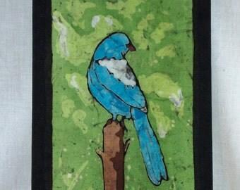 Blue Bird - Scrub Jay 1:3 - Hand Painted Batik Tapestry