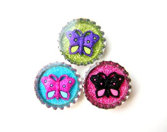 NEW Bottle Cap Magnets - Butterflies in Bright Colors - Set of 3